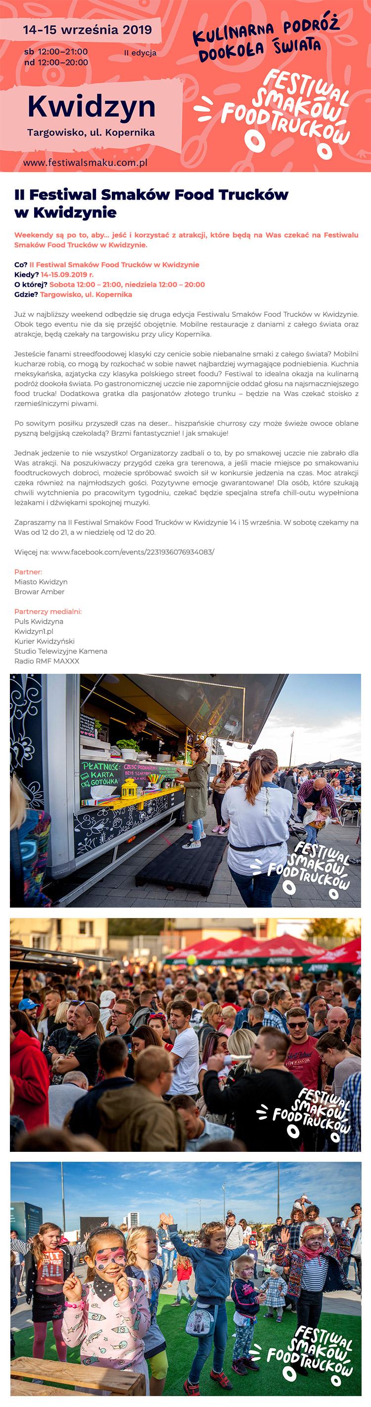 II Festiwal Smaków Food Trucków w Kwidzynie 14-15.09